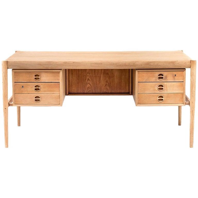 Scandinavian Natural Teak Desk, 1970s For Sale