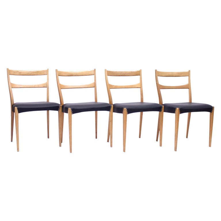 Scandinavian Oak Dining Chairs with Black Leather Seats, 1950s For Sale