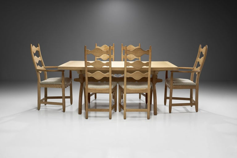 Fabric Scandinavian Oak Dining Set, Scandinavia, circa 1950s