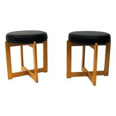 Scandinavian Oak Taburette Pair with Black Leatherette Seats, 1960s