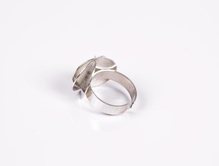 Women's Scandinavian Ola Dahlsveen 1960s Modernist Silver Ring For Sale
