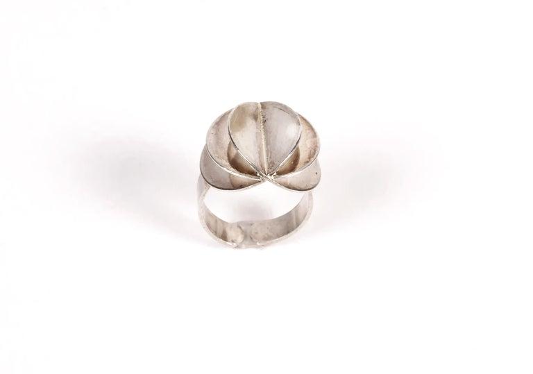 Scandinavian Ola Dahlsveen 1960s Modernist Silver Ring For Sale 2