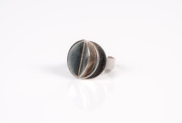 Scandinavian Ola Dahlsveen 1960s Modernist Silver Ring For Sale 3