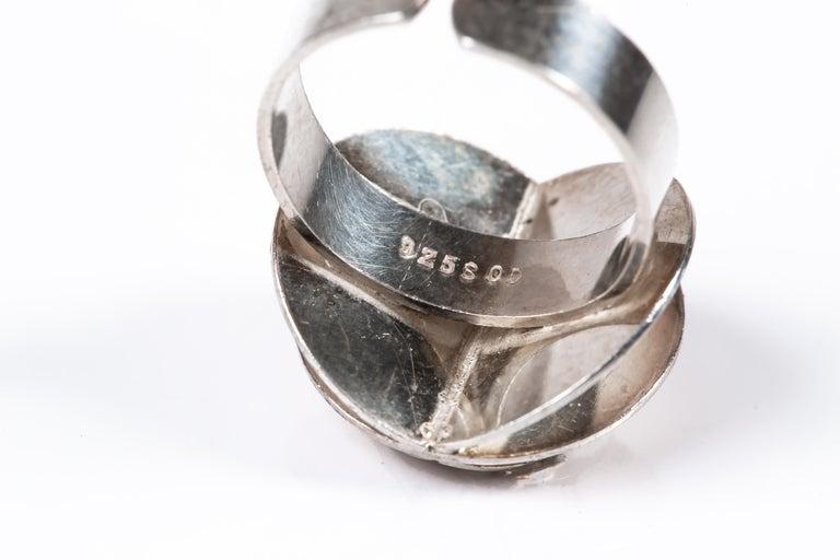 Scandinavian Ola Dahlsveen 1960s Modernist Silver Ring For Sale 5