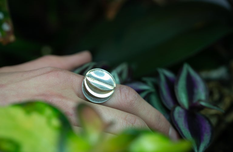 Scandinavian Ola Dahlsveen 1960s Modernist Silver Ring In Good Condition For Sale In Oslo, NO