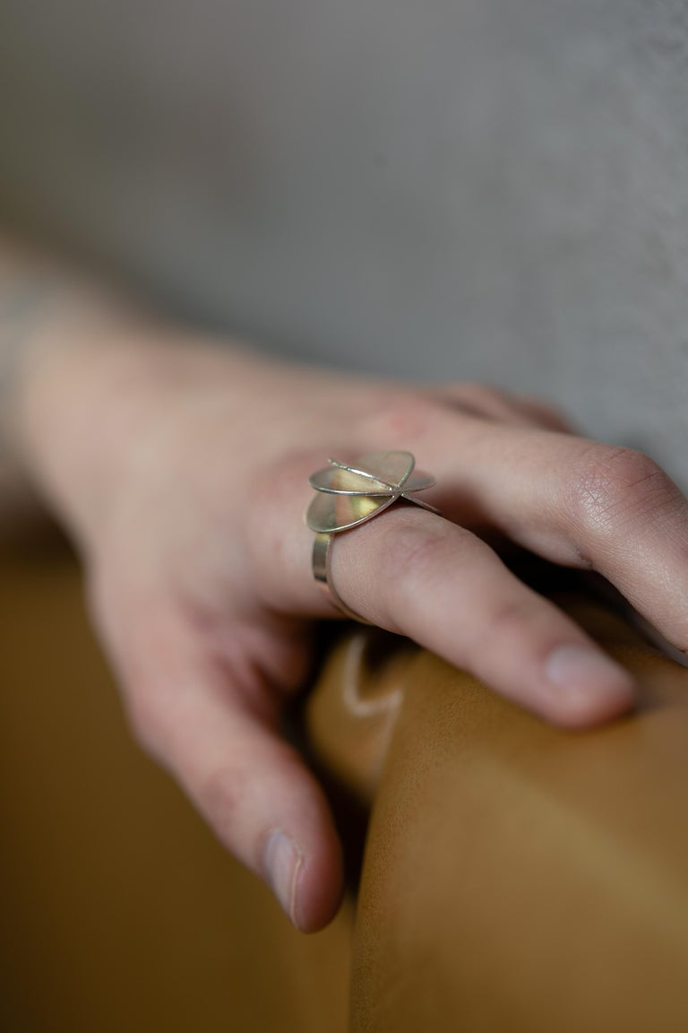 Scandinavian Ola Dahlsveen 1960s Modernist Silver Ring For Sale 4