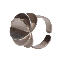 Scandinavian Ola Dahlsveen 1960s Modernist Silver Ring