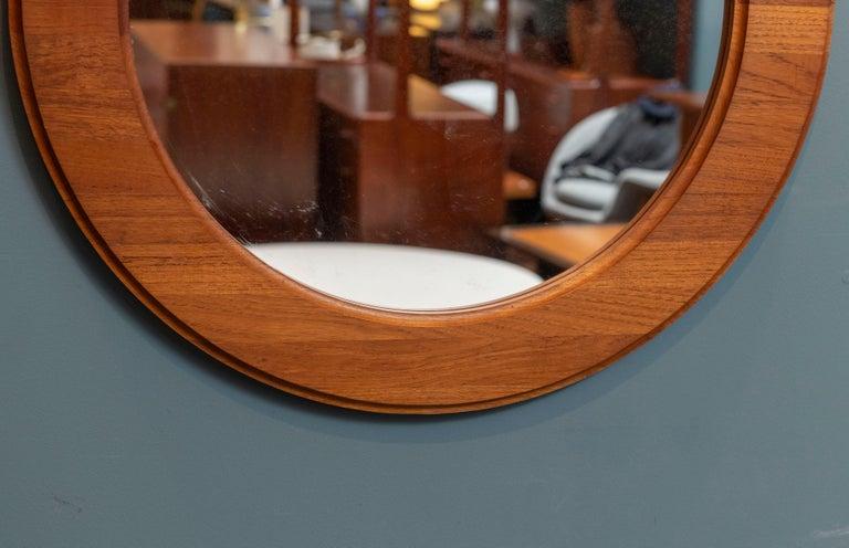 Danish Scandinavian Oval Wall Mirror For Sale