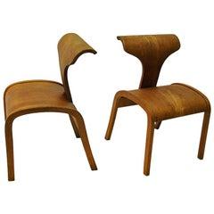 Scandinavian Pair of Great Design Childrens Wood Chairs 1950s