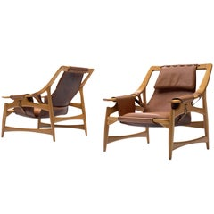 Scandinavian Pair of Lounge Chairs in Teak and Brown Leather