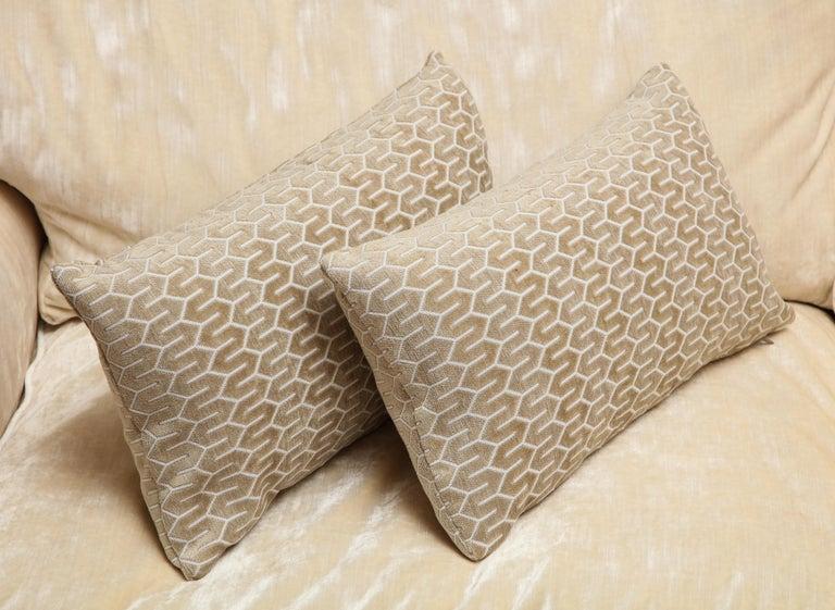 Scandinavian Pair of Modern Rectangular Velvet White/Silver/Cream Pillows In New Condition For Sale In New York, NY