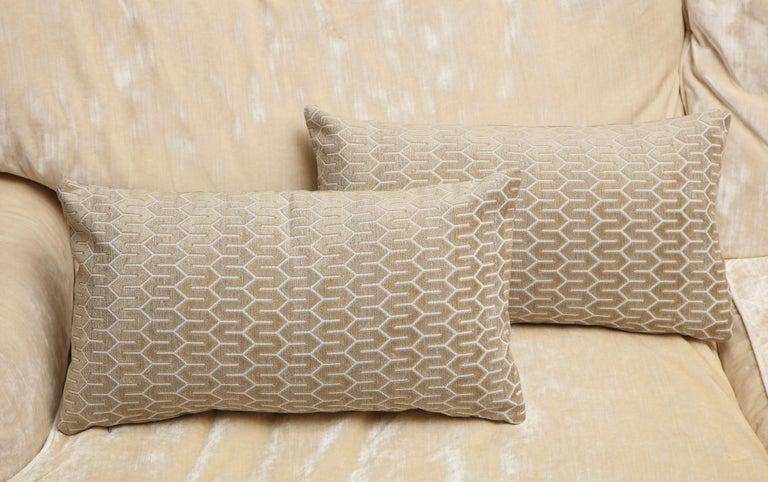 Contemporary Scandinavian Pair of Modern Rectangular Velvet White/Silver/Cream Pillows For Sale
