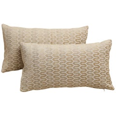 Scandinavian Pair of Modern Rectangular Velvet White/Silver/Cream Pillows
