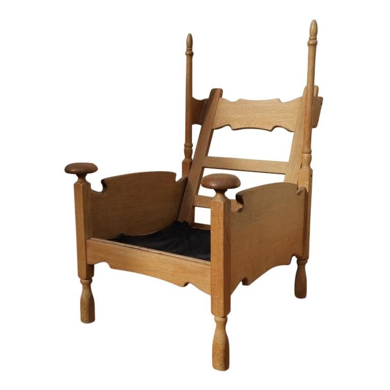 Scandinavian Pair of Oak Arts & Crafts Style Armchairs with Elongated Uprights
