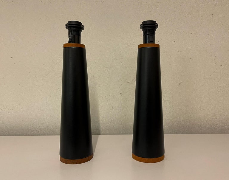 Faux Leather Scandinavian Pair of Table Lamps Luxus, Sweden, 1970s For Sale