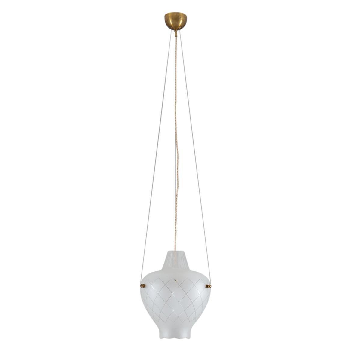 Scandinavian Pendant in Brass and Glass, Swedish Modern, 1940s