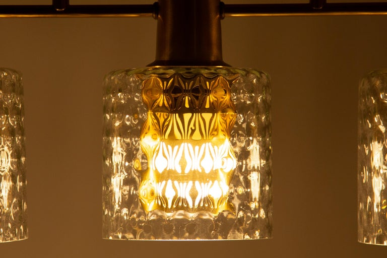 Scandinavian Pendant Lamp with Brass and Glass For Sale 9
