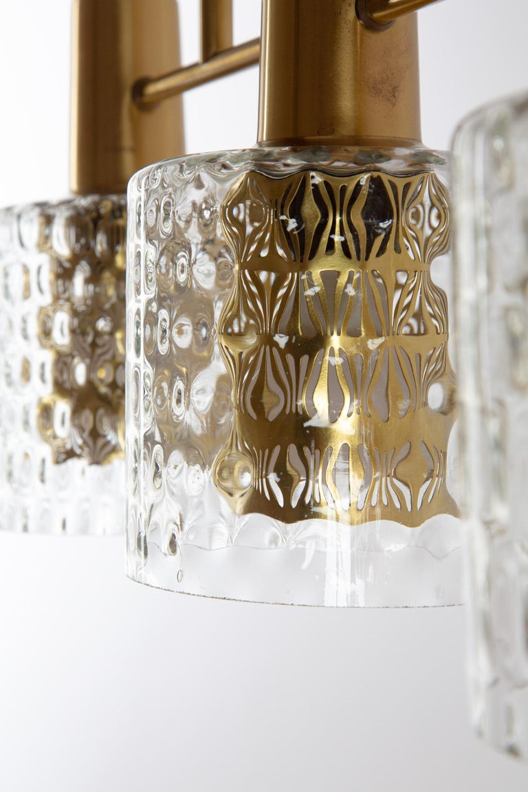 Scandinavian Pendant Lamp with Brass and Glass For Sale 1