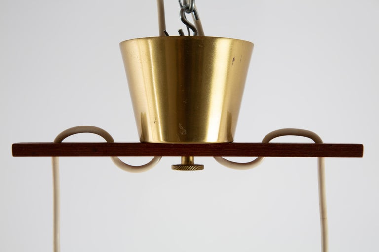 Scandinavian Pendant Lamp with Brass and Glass For Sale 2