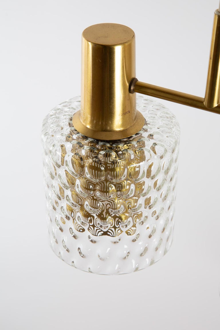 Scandinavian Pendant Lamp with Brass and Glass For Sale 3