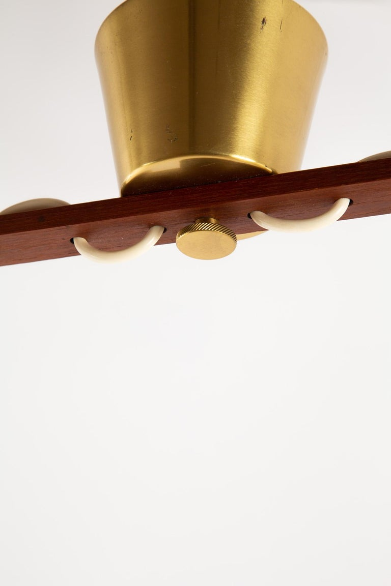 Scandinavian Pendant Lamp with Brass and Glass For Sale 5