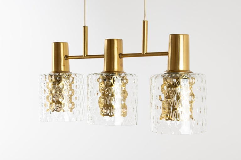 Scandinavian Pendant Lamp with Brass and Glass For Sale 6
