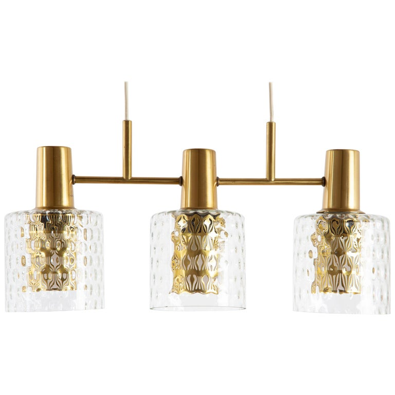Scandinavian Pendant Lamp with Brass and Glass For Sale