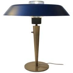 Scandinavian Petrol Blue Table Lamp in Brass, DLJ, 1960s