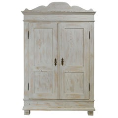 Scandinavian Pine Armoire with Painted Gustavian White/Gray Finish, circa 1830
