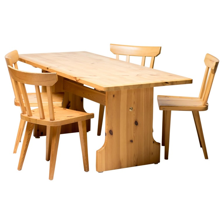 Scandinavian Pine Dining Set For Sale