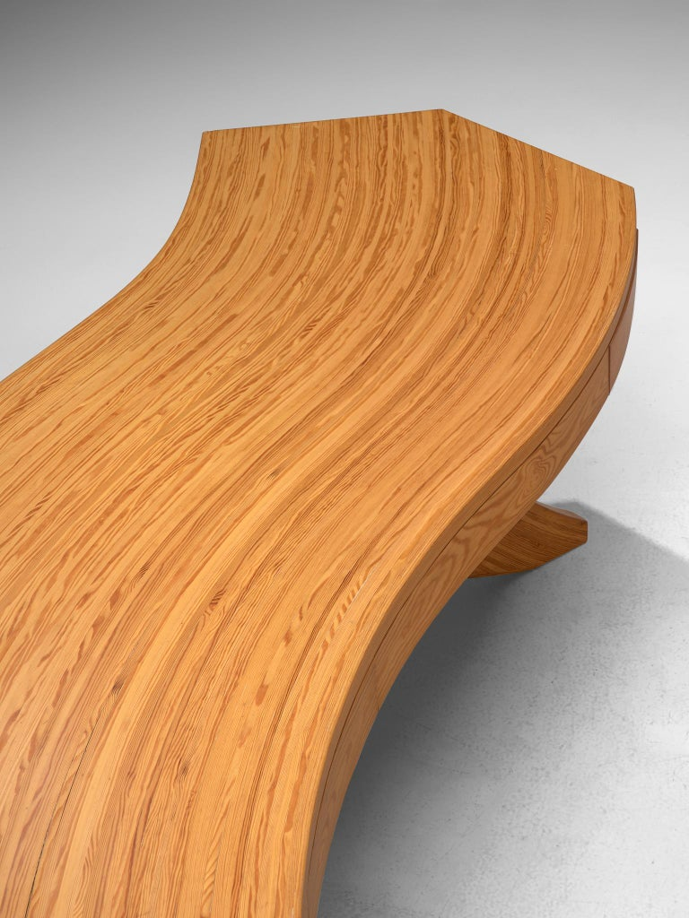 Scandinavian Pine Table with Curved Table Top 2