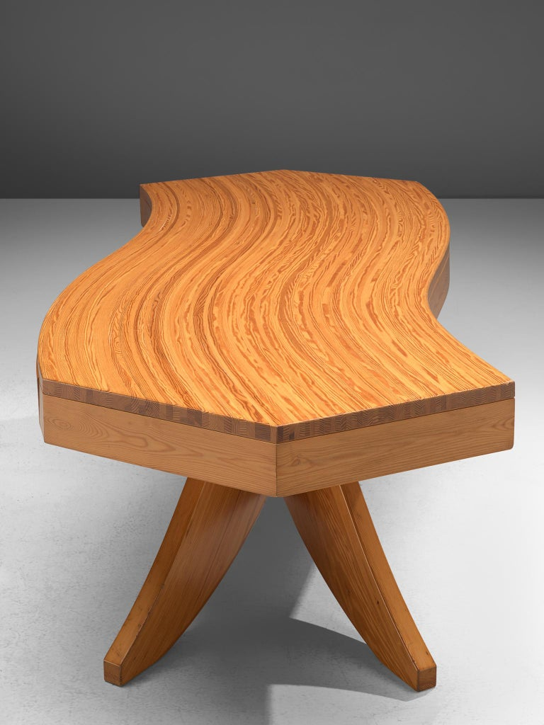 Scandinavian Pine Table with Curved Table Top 3