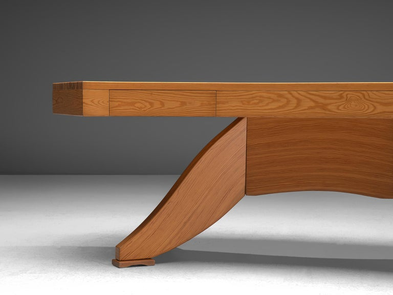 Scandinavian Pine Table with Curved Table Top 4