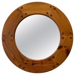 Scandinavian Pinewood Round Mirror, 1970s