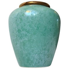 Scandinavian Pottery Vase with Speckled Green Glaze, 1970s