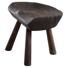 Scandinavian Stool in Solid Wood, Early 20th Century