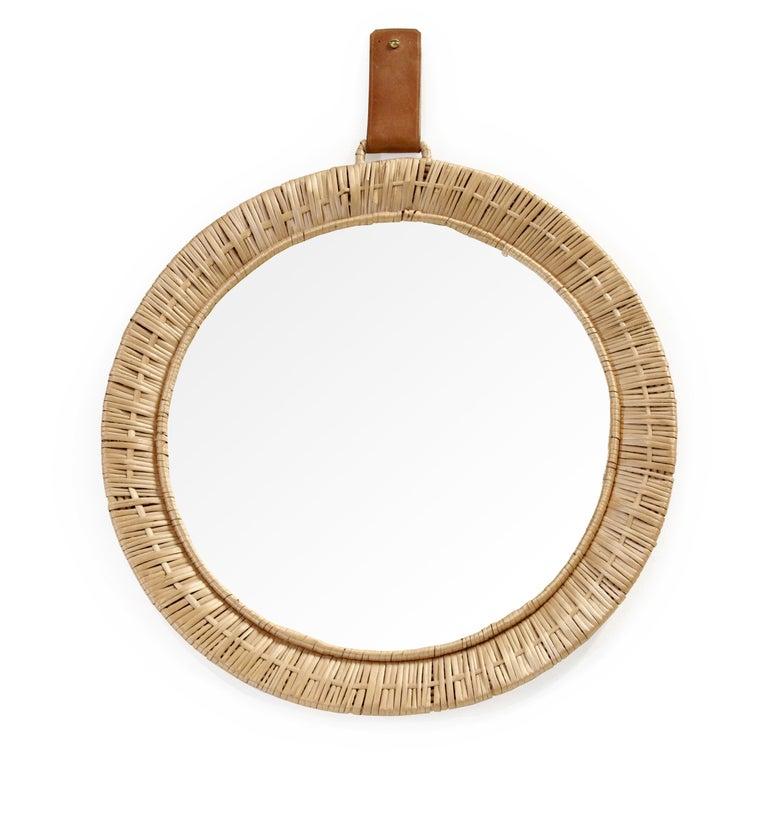 Mid-20th Century Scandinavian Rattan Mirror, 1950s For Sale