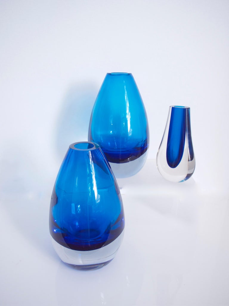 Blown Glass Scandinavian Riihimaki  Vases by Tamara Aladin Geoffrey Baxter Hambone For Sale
