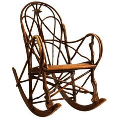 Scandinavian Rocking Chair Bent Wood Willow, 1900-1920