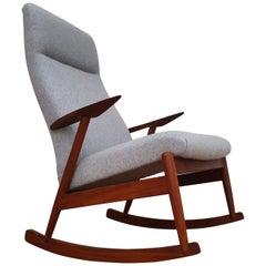 Scandinavian Rocking Chair, Teak Wood, 1960s, Completely Renovated