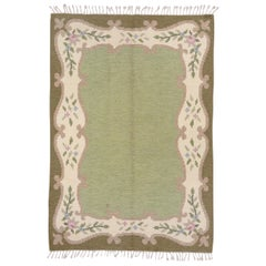 Scandinavian Rollaken Flatweave Rug, Light Green Open Field, Circa 1950s