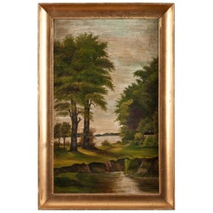 "Scandinavian Romantic Oil on Canvas Unsigned ""Riverscape with Trees"", circa 1910"