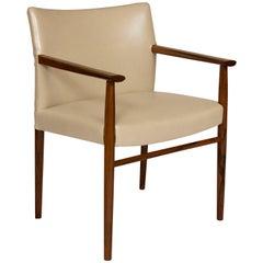 Mid-Century Modern Scandinavian Rosewood and Cream Leather Desk/Armchair, 1960's