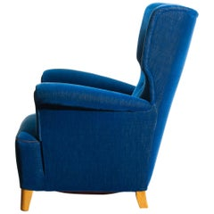 Scandinavian Royal Blue Velvet Wingback Chair, 1930-1940