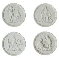 Scandinavian Matte White Basalt Neoclassical Wall Art Royal Copenhagen, Set of 4
