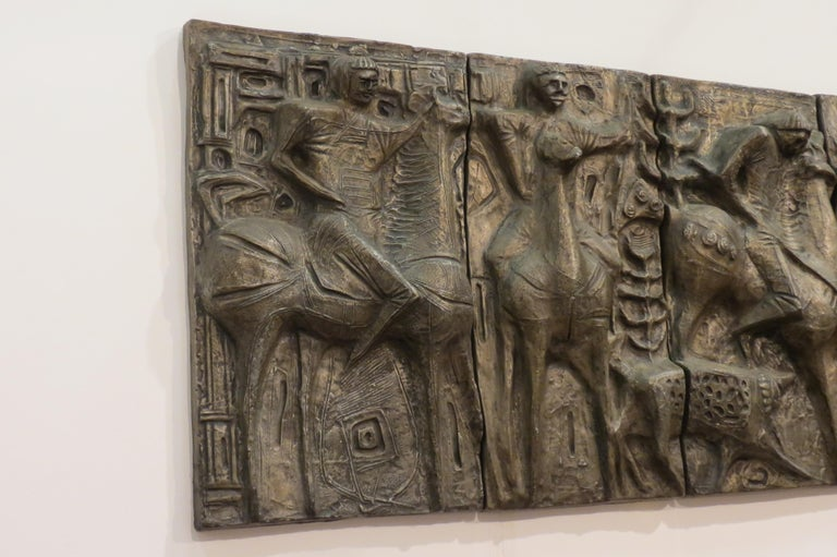 Swedish 1960s Sculptural Bronze Effect Wall Art Resin Wall Hanging  For Sale