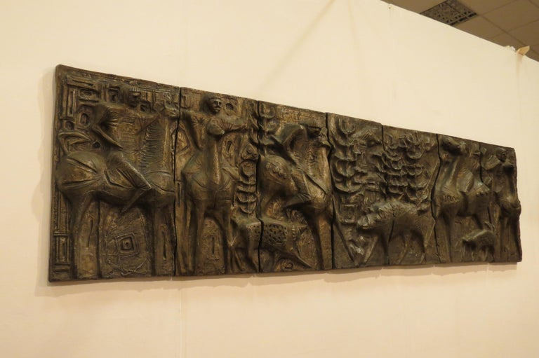 Hand-Crafted 1960s Sculptural Bronze Effect Wall Art Resin Wall Hanging  For Sale