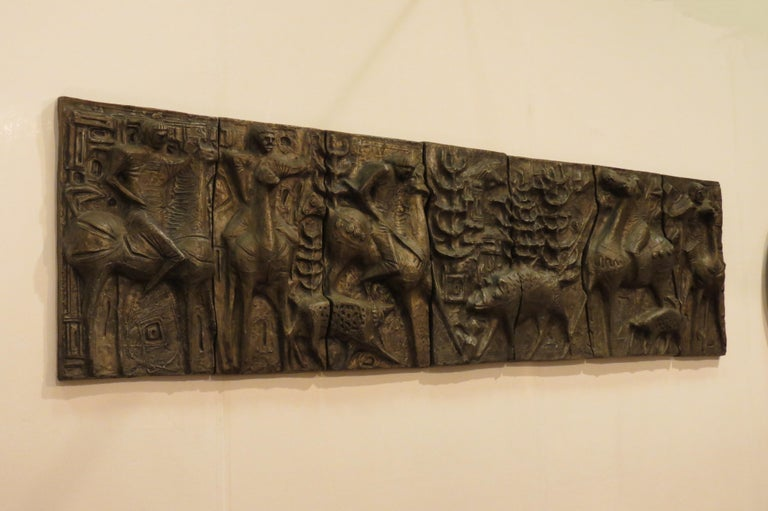 1960s Sculptural Bronze Effect Wall Art Resin Wall Hanging  In Good Condition For Sale In Stow on the Wold, GB