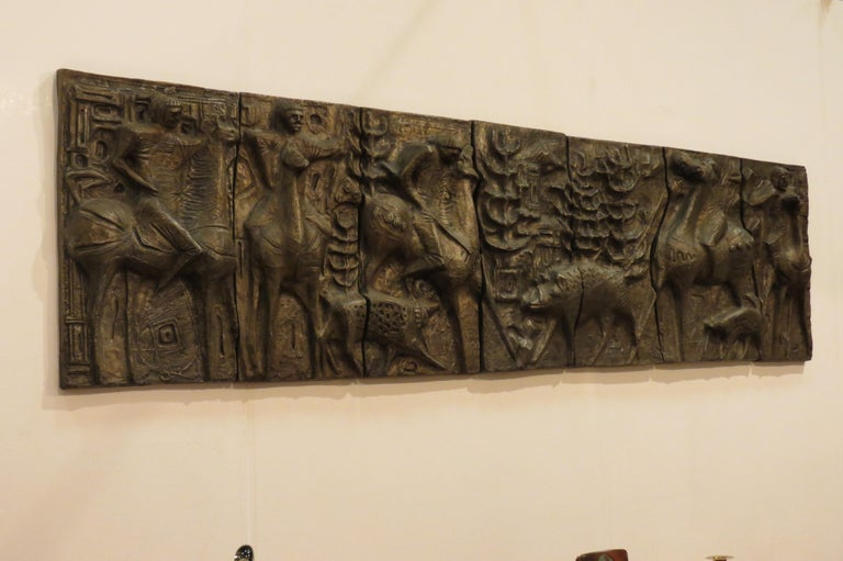 20th Century 1960s Sculptural Bronze Effect Wall Art Resin Wall Hanging  For Sale