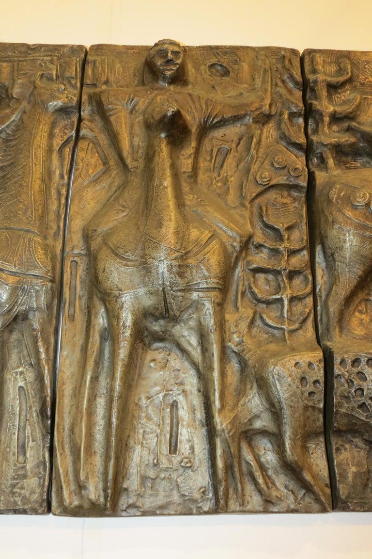 1960s Sculptural Bronze Effect Wall Art Resin Wall Hanging  For Sale 2